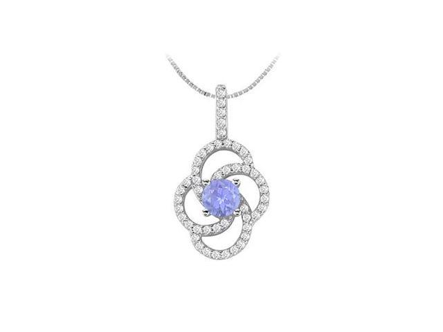 Natural Tanzanite and Diamond Flower Design Pendant in 14K White Gold 1.00 Carat TGW