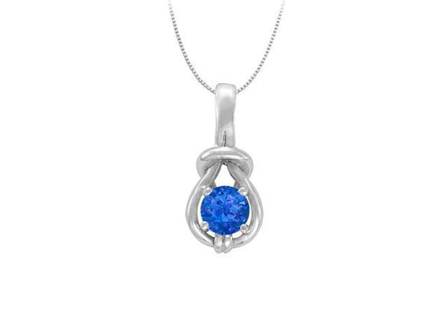 Knot Pendant in Sterling Silver with September Birthstone Created Sapphire 1.00 CT TGW