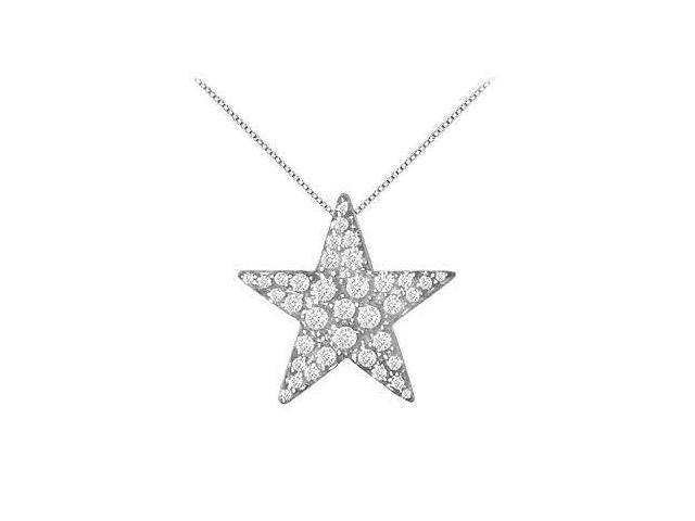 Diamond Star Pendant  14K White Gold - 0.85 CT Diamonds