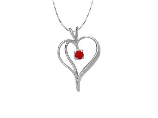 July Birthstone Ruby Heart Pendant in 14kt White Gold  0.33 CT TGW