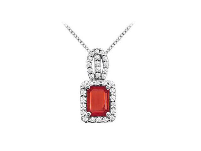 GF Bangkok Ruby and CZ with Emerald Cut and Round Pendant in 14K White Gold 4.75 Carat TGW