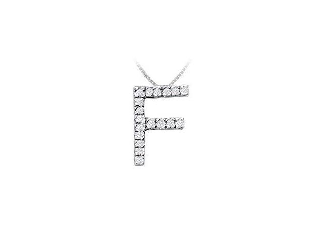Classic F Initial Diamond Pendant  14K White Gold - 0.25 CT Diamonds