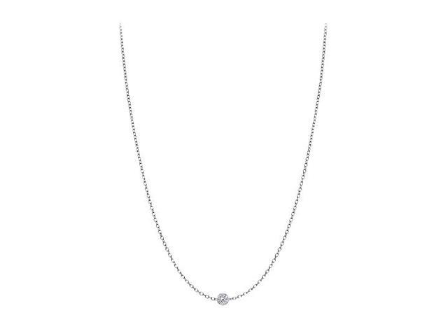 Diamond By The Yard Necklace in 14K White Gold Bezel Set 0.10 ct.tw