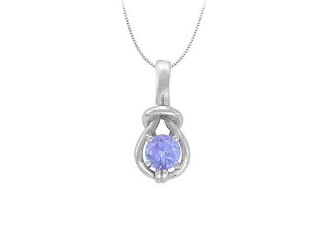 Knot Pendant in Sterling Silver with December Birthstone Created Tanzanite 1.00 CT TGW