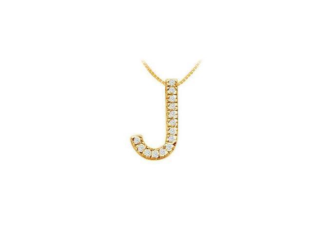 Classic J Initial Diamond Pendant  14K Yellow Gold - 0.25 CT Diamonds