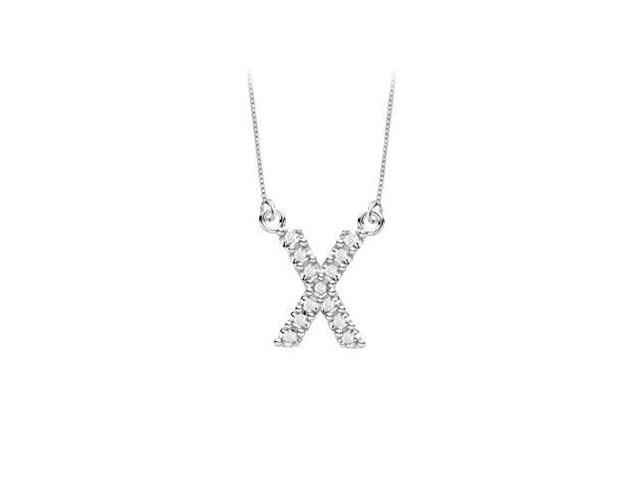 Petite Baby Charm Cubic Zirconia X Initial Pendant  .925 Sterling Silver - 0.15 CT TGW