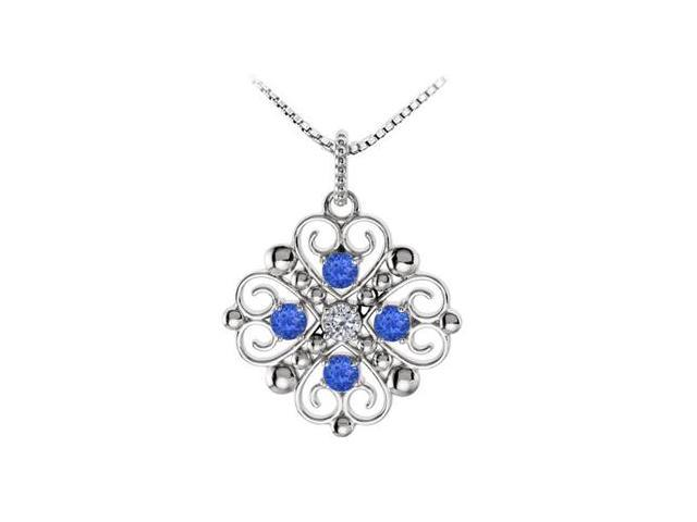 September Birthstone Created Sapphire and CZ Heart Pendant in 14kt White Gold 0.50 CT TGW