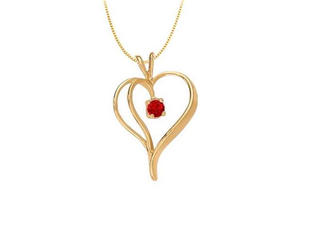 July Birthstone Ruby Heart Pendant in 14kt Yellow Gold  0.33 CT TGW