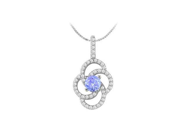 14K White Gold Flower Design Pendant with Tanzanite and Cubic Zirconia 1.50 Carat TGW