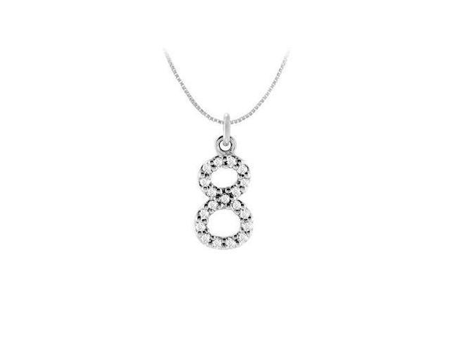 Cubic Zirconia Numeric 8 Charm Pendant  .925 Sterling Silver - 0.08 CT TGW