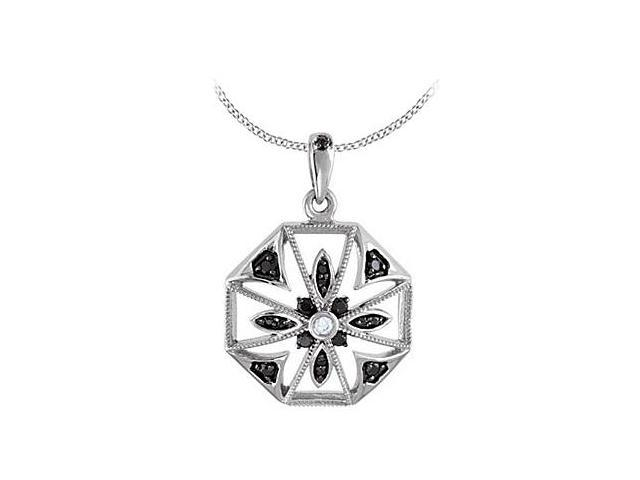 Diamond and Black Spinel Pendant in Rhodium Plating .925 Sterling Silver 0.22 Carat TGW