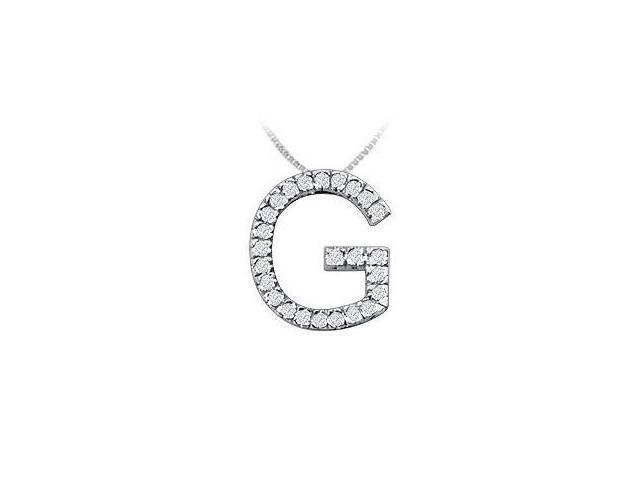 Classic G Initial Diamond Pendant  14K White Gold - 0.40 CT Diamonds