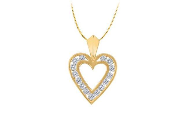 April birthstone Channel Set Diamond Heart Pendant in 14K Yellow Gold 0.50 CT TDW
