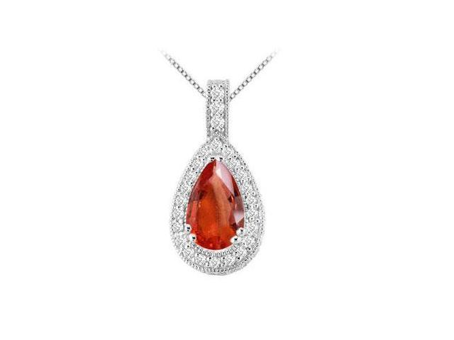Brilliant cut cubic zirconia with Pear Shape GF Bangkok Ruby in 14k white gold pendant with 5.50