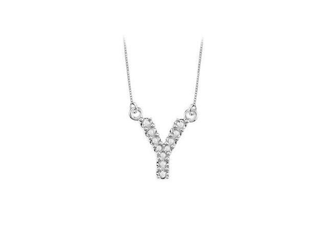 Petite Baby Charm Diamond Y Initial Pendant  14K White Gold - 0.20 CT Diamonds