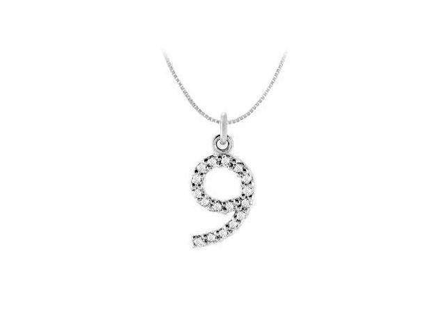 Cubic Zirconia Numeric 9 Charm Pendant  .925 Sterling Silver - 0.08 CT TGW