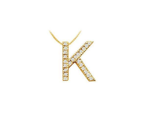 Classic K Initial Diamond Pendant  14K Yellow Gold - 0.35 CT Diamonds