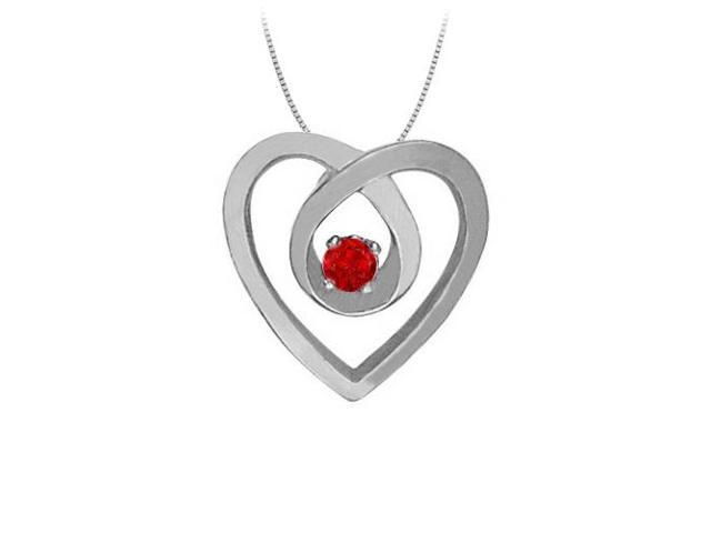 July Birthstone Ruby Heart Pendant Necklace in 14kt White Gold 0.10 CT TGW