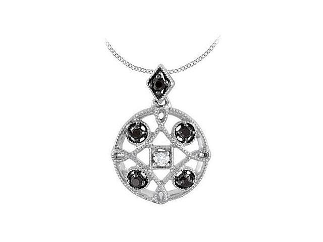 Milgrain .925 Sterling Silver with Black Spinel and Diamond Pendant 0.15 Carat Total Gem Weight