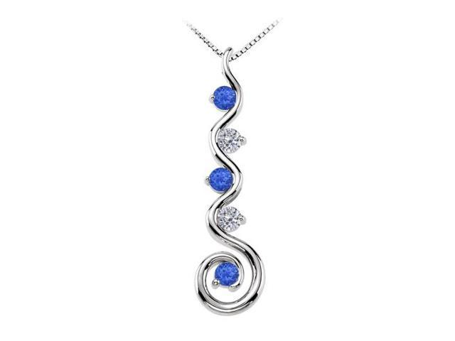 September Birthstone Created Sapphire and CZ Spiral Pendant in 14K White Gold 0.75 CT TGW