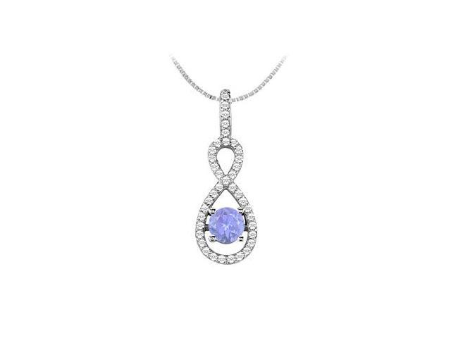 Diamond and Natural Tanzanite with 1.00 Carat TGW in 14K White Gold