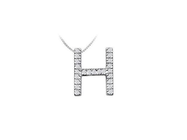 Classic H Initial Diamond Pendant  14K White Gold - 0.35 CT Diamonds