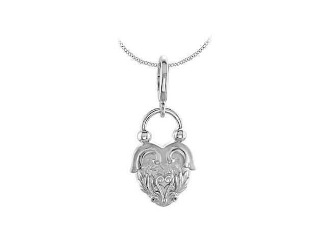 Vintage Inspired Heart Design Charm Pendant in .925 Sterling Silver Rhodium Plating