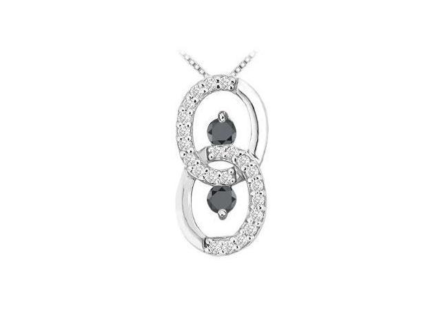 Black and White Diamond Circle Pendant  14K White Gold - 1.00 CT Diamonds