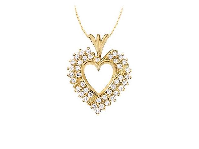 April birthstone CZ Heart Pendant Sterling Silver with Yellow Gold Vermeil 1.00 CT TGW