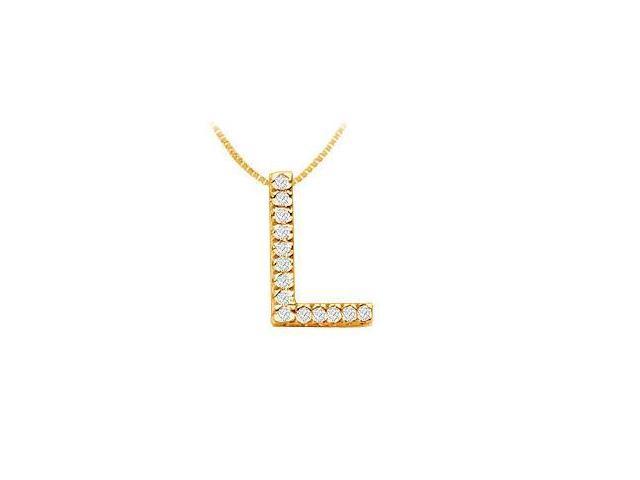 Classic L Initial Diamond Pendant  14K Yellow Gold - 0.25 CT Diamonds