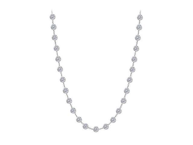 Diamond By The Yard Necklace in 14K White Gold Bezel Set 2.50 ct.tw