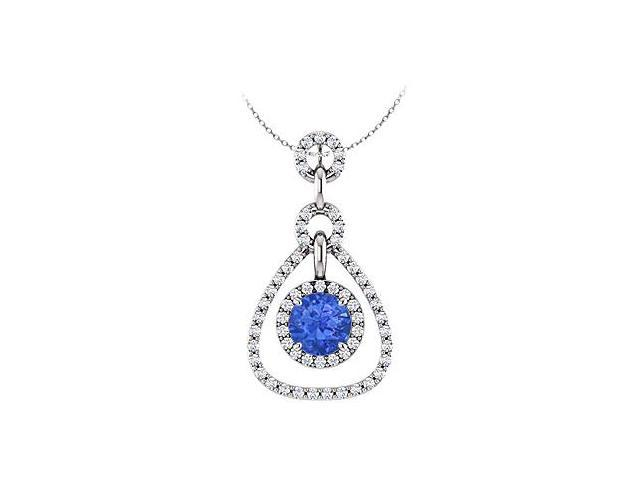 September Birthstone Created Sapphire and CZ Tear Drop Halo Pendant 14K White Gold 1.50 CT TGW