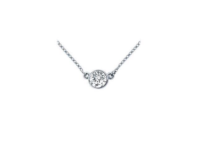 Platinum  Bezel Set Round Diamond Solitaire Pendant - 0.50 CT. TW.