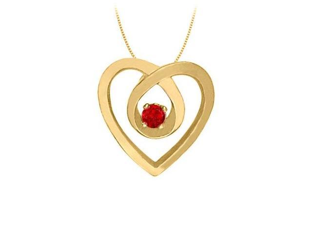 July Birthstone Ruby Heart Pendant Necklace in 14kt Yellow Gold 0.10 CT TGW