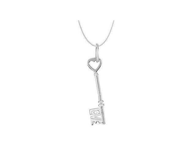 Love is the Key Charm Pendant in Rhodium Plating .925 Sterling Silver 18.75X04.25 MM