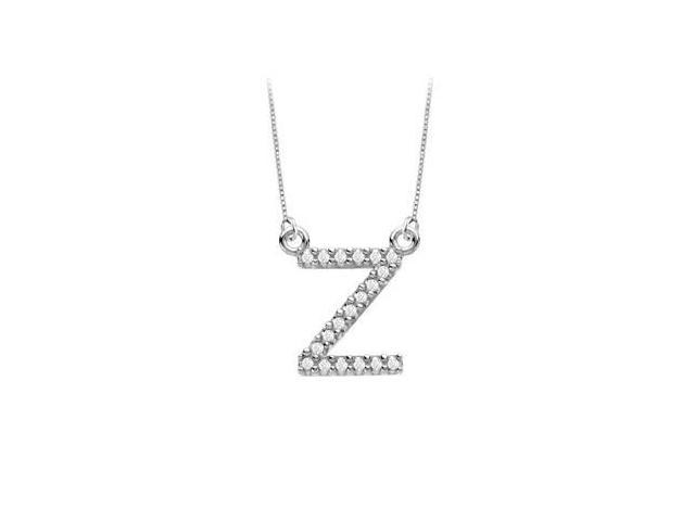 Petite Baby Charm Diamond Z Initial Pendant  14K White Gold - 0.20 CT Diamonds