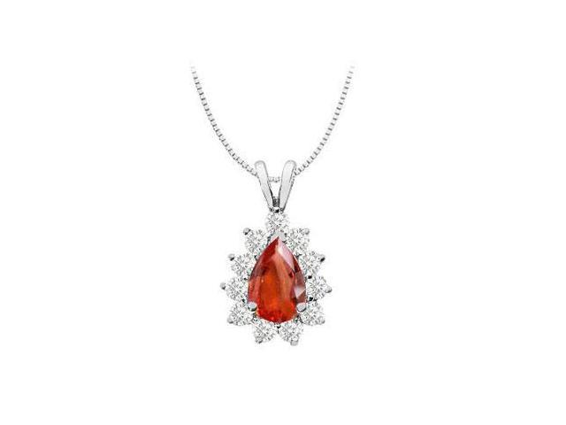 Pendant 14k white gold with GF Bangkok Ruby pear shape and round cubic zirconia 3.50 carat tgw