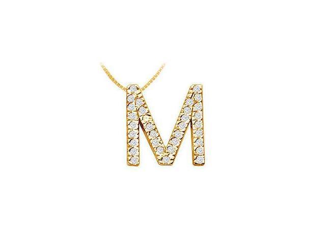Classic M Initial Diamond Pendant  14K Yellow Gold - 0.50 CT Diamonds