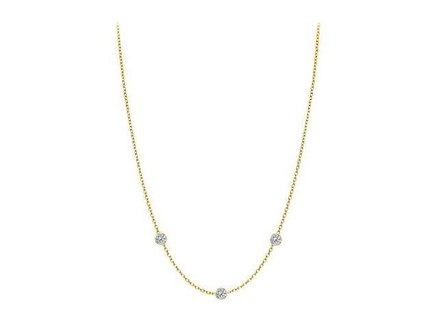 Diamonds By The Yard Necklace in 14K Yellow Gold Bezel Set 0.15 ct.tw