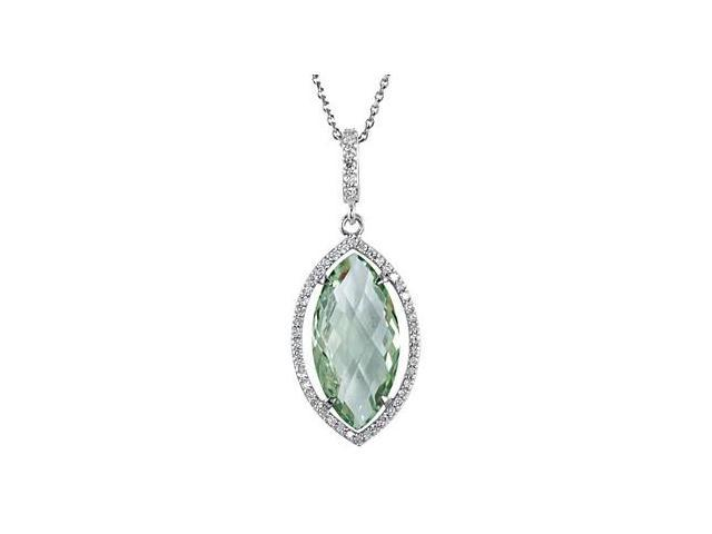 Green Quartz Marquise with Diamond Pendant in Sterling Silver Halo Styled 18 Inch Necklace