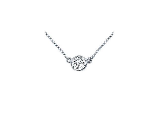 Platinum  Bezel Set Round Diamond Solitaire Pendant - 0.75 CT. TW.