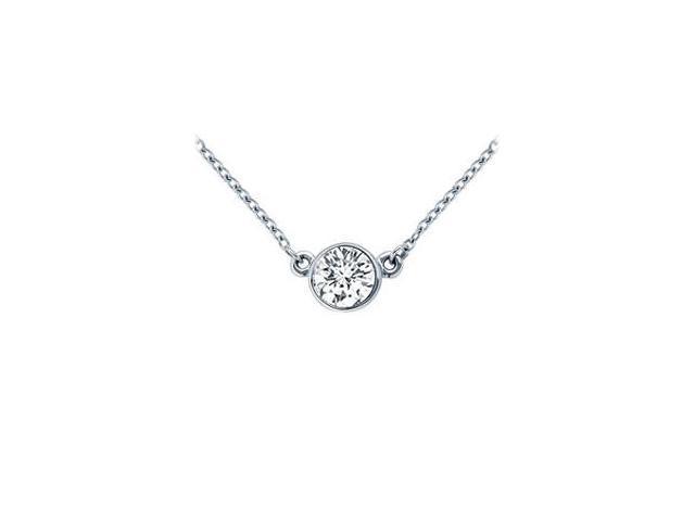 Platinum  Bezel Set Round Diamond Solitaire Pendant - 0.75 CT. TW.