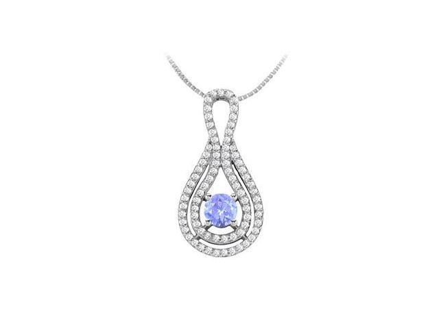 Half Carat Natural Tanzanite and Diamond Pendant in 14K White Gold 1.25 Carat TGW