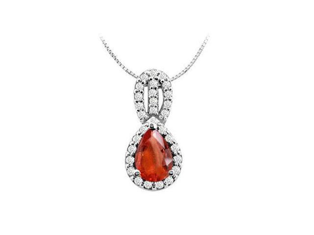 Fashion Pendant with Pear Shape GF Bangkok Ruby and CZ in 14K White Gold 3 carat TGW