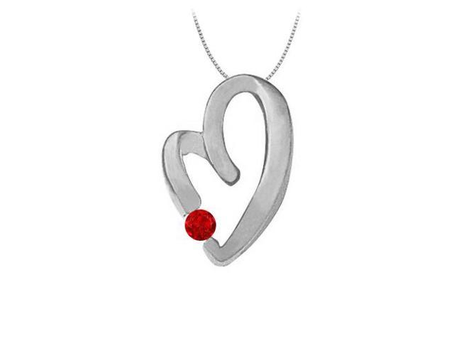 July Birthstone Ruby Heart Pendant Necklace in 14kt White Gold  0.15 CT TGW.