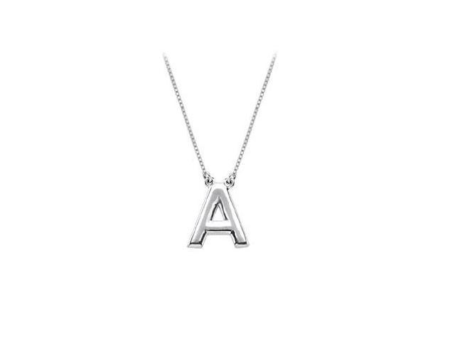 Sterling Silver Baby Charm A Block Initial Pendant