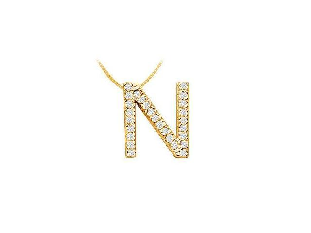 Classic N Initial Diamond Pendant  14K Yellow Gold - 0.45 CT Diamonds