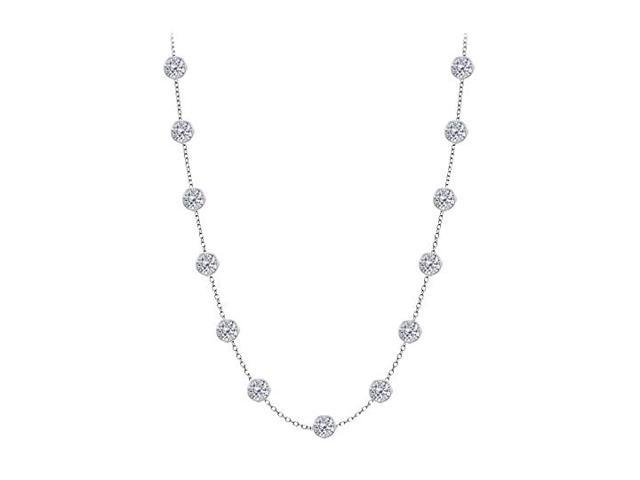 Diamond By The Yard Necklace in 14K White Gold Bezel Set 3 ct.tw
