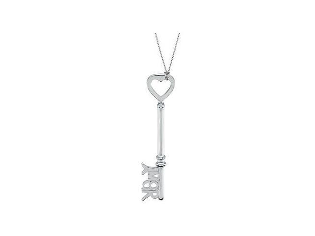 Amour Est La Cl Pendant in Rhodium Plating .925 Sterling Silver of 1.5 Inch Love is the Key