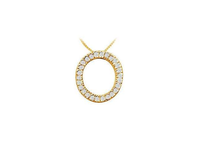 Classic O Initial Diamond Pendant  14K Yellow Gold - 0.40 CT Diamonds